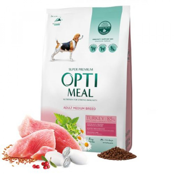 OPTIMEAL Adult Medium Breed Z Indykiem - sucha karma dla psa 4kg