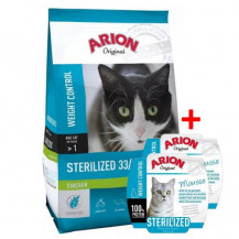 ARION Original Cat Sterilised Chicken - sucha karma dla kota + 2x szalka 70g GRATIS